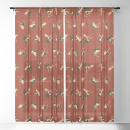 Fighting Roosters Sheer Curtain