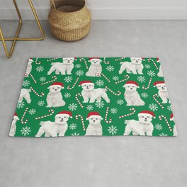 Maltese christmas festive dog breed holiday candy canes snowflakes pattern pet friendly dog art Rug