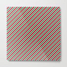 Christmas Tight Stripes Metal Print