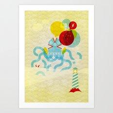 Sea Monster Squid Art Print