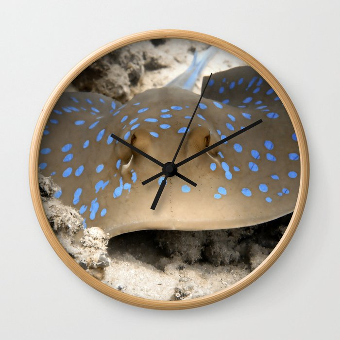 Blue Spotted Ray Wall Clock