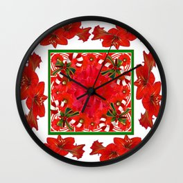 RED AMARYLLIS FLOWERS & HOLIDAY CANDY CANE FLORAL ART Wall Clock