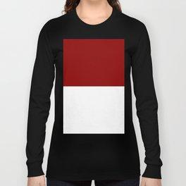 White and Dark Red Horizontal Halves Long Sleeve T-shirt