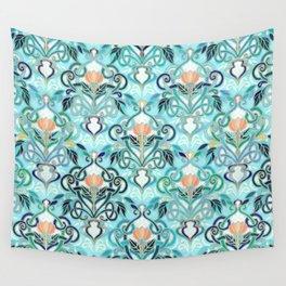 Ocean Aqua Art Nouveau Pattern with Peach Flowers Wall Tapestry