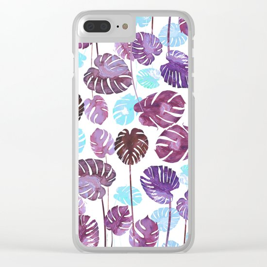 Tropical Cold leaves Clear iPhone Case