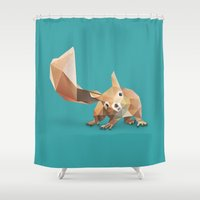 squirrel Shower Curtains featuring Squirrel. by Diana D'Achille