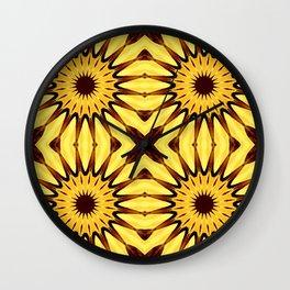 Sunflowers Yellow & Brown Pinwheel Flowers Wall Clock