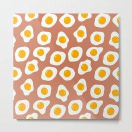 Eggs Pattern (Latte Color Background) Metal Print