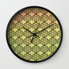Doodle flowers on pastel background Wall Clock