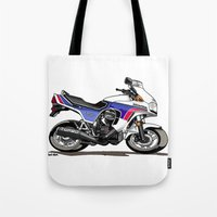 honda Tote Bags featuring 1983 Honda CX650TD Turbo by Saddle Bums