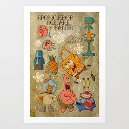 Sailor Jerry Spongebob Tattoo Sheet Art Print