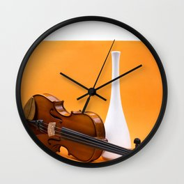 Still life with violin and white vase on an orange Wall Clock