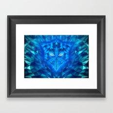 Deep Ice Blue - Sub Zero Transformers Wolf Mask Portait  Framed Art Print