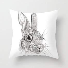 Observing Bunny Throw Pillow