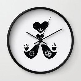 Scandinavian Love Birds Wall Clock