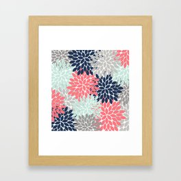 Flower Burst Petals Floral Pattern Navy Coral Mint Gray Framed Art Print