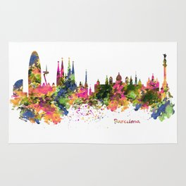 Barcelona Watercolor Skyline Rug
