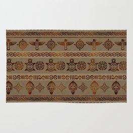 Maya / Aztec  pattern Burn gold on canvas Rug
