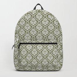 vampy damask_white on sage Backpack