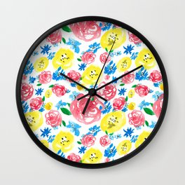 Watercolor roses Wall Clock