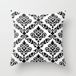 Prima Damask Pattern Black on White Throw Pillow