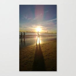 Woman on the Beach with Sunset Canvas Print