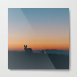 Santorini Donkeys Metal Print