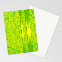 Vibrant green mandala and ribbons Stationery Cards