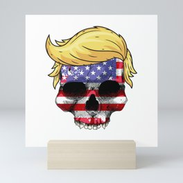 Skull with iconic Trump Hair president Flag America Tees Mini Art Print