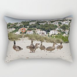 Ducks in one of the biggest and tourist beaches of Menorca, Son bou. Rectangular Pillow