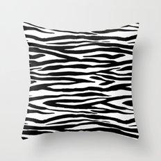 Zebra stripes pattern black and white Throw Pillow