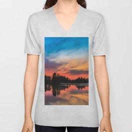 Summer Sunset over Lake Unisex V-Neck