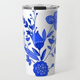 Blue &White Floral Travel Mug