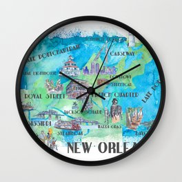 New Orleans Louisiana Favorite Travel Map with Touristic Highlights in colorful retro print Wall Clock