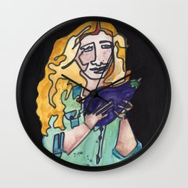 Karen Sure Loves Eggplants Wall Clock