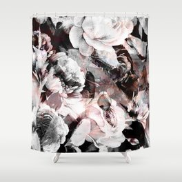 flowers - roses and black marble Shower Curtain