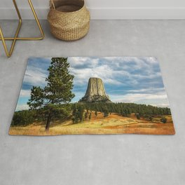Rise Above - Devils Tower on Autumn Day in Black Hills of Wyoming Rug