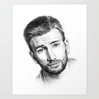 chris evans Art Prints featuring Chris Evans by Creadoorm