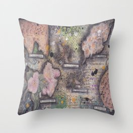 Honey Bee canvas collage Throw Pillow