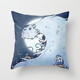 Mia & The Unicorn Bear Throw Pillow