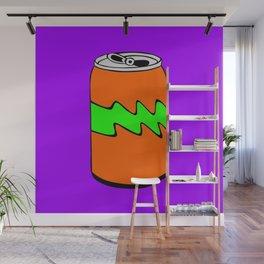 Purple Green & Orange Cartoon Soda Can Colourful Simple Art Wall Mural