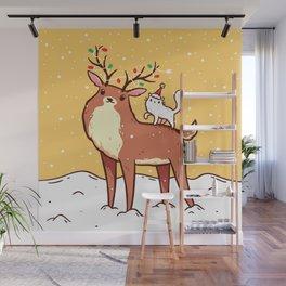 Reindeer and Kitten Wall Mural