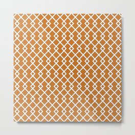 Ocher Orange Diamond Pattern Metal Print