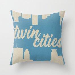 Twins Cities Skylines-Minneapolis and Saint Paul, Minnesota Throw Pillow