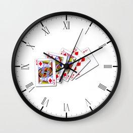 Royal Flush Diamonds Wall Clock