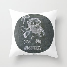 Santa St. Nick Chalkboard holiday message Throw Pillow