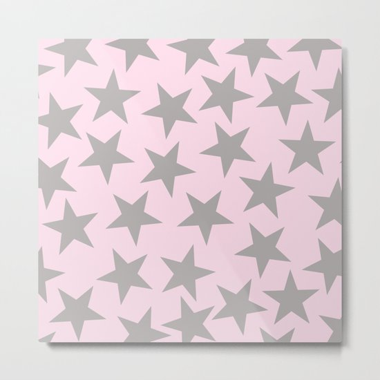 Grey stars on pink background pattern Metal Print