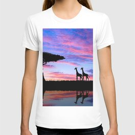 Lonely Tree And Giraffes Silhouette In African Savannah At Sunset Ultra HD T-shirt