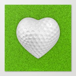 Golf ball heart / 3D render of heart shaped golf ball Canvas Print