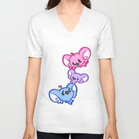 bisexual V-neck T-shirts featuring Secret Undercover Bisexual Koaloids by Arinko